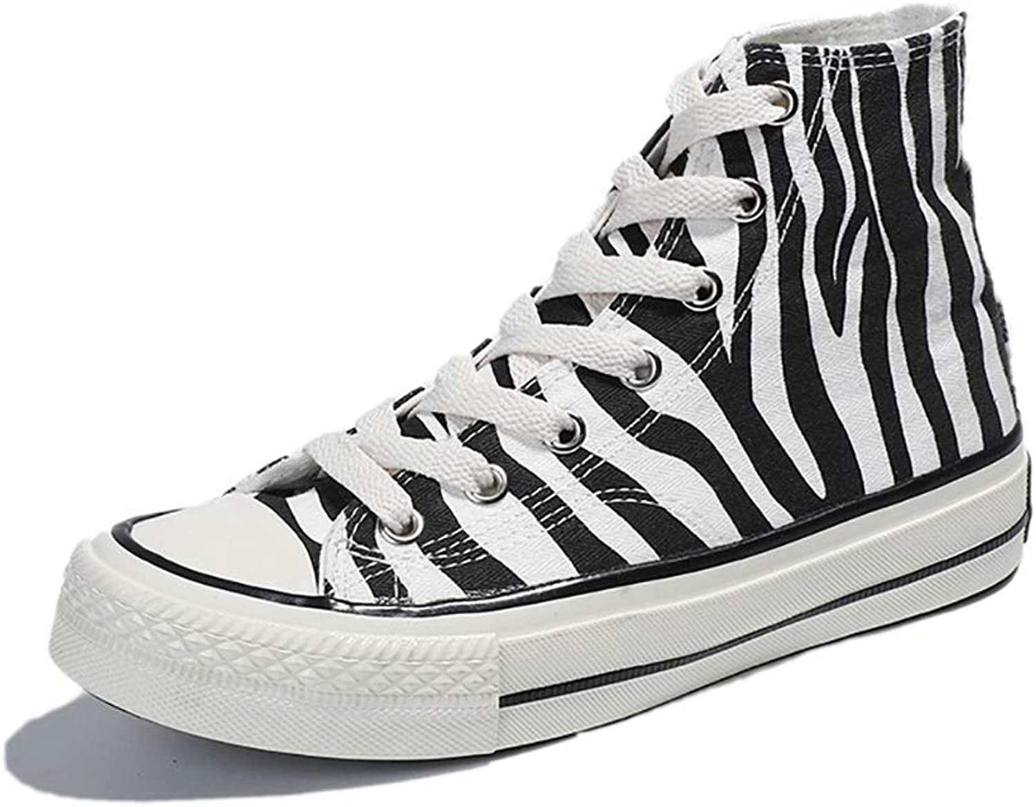 Women's Canvas High Top Sneaker Casual Lace up Fashion Comfortable for Walking,White,35