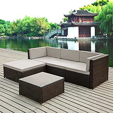 iKayaa 5PCS Rattan Wicker Patio Sofa Set Garden Furniture W/ Cushions Outdoor Corner Sectional Couch Set
