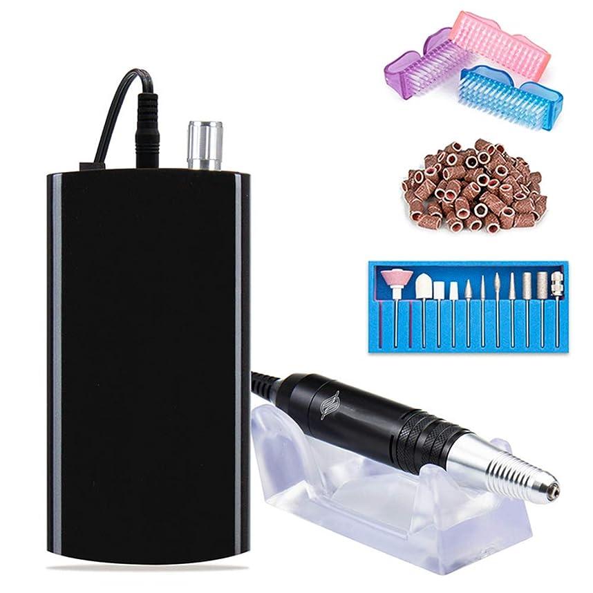 電気釘のドリルの再充電可能な携帯用爪やすり、6つの位置を粉砕する専門のアクリルのゲルの釘および家族の大広間に適したベルトのマニキュアの形,黒