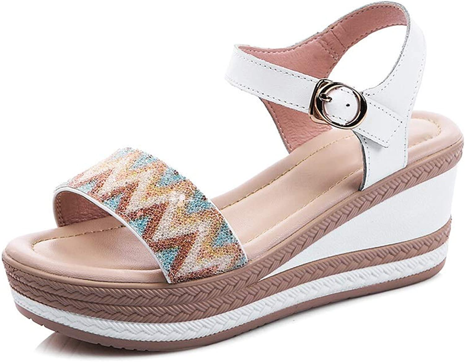Women's Sandal Wedge Heel, Platform Comfortable High Heels (color   White, Size   7 US)