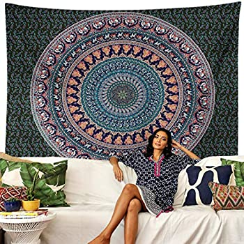 Trikptey Indian Mandala Floral Tapestry Bohemian Hippie Psychedelic Indian Mandala Floral Tapestry Wall Hanging Wall Cloth Tapestry Carpet for Living Room Bedroom Home Dorm Decor 60 x80