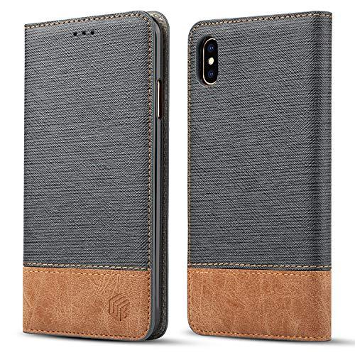WenBelle Blazers Series - Funda tipo portafolios para iPhone Xs Max (piel sintética, con función atril, doble capa, absorción de golpes, color suave), iPhone XS Max, gris