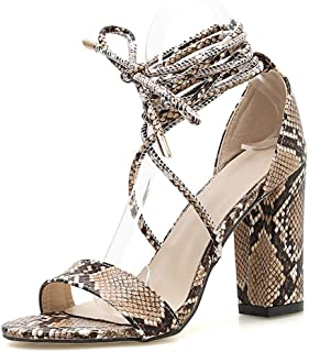 Heeled Sandals For Women Chunky Snakeskin Open Toe Sexy Ankle Strap Peep Toe Adjustable Criss Cross Calf Lace Up Synthetic Leather Single Band Fashion Comfortable Shoes Well-Made