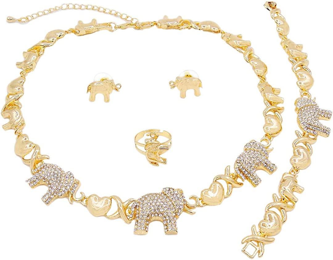 Women's Girl's Hugs & Kisses XOXO 4 Pieces Necklace Set Elephants Pedant Includes Necklace Bracelet Earrings Ring Real Gold Plated Layered