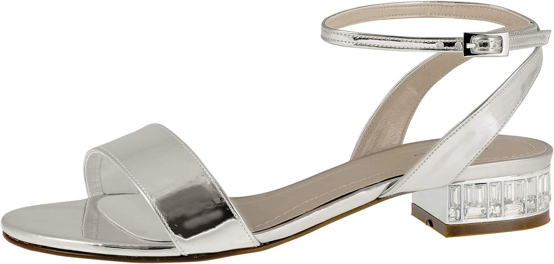 Brautschuhe Whitny Satin Schuhe Sandalen RAINBOW CLUB 3 cm High Heels Pumps Ivory mit Riemchen Kunstleder (37 EU, Silber)