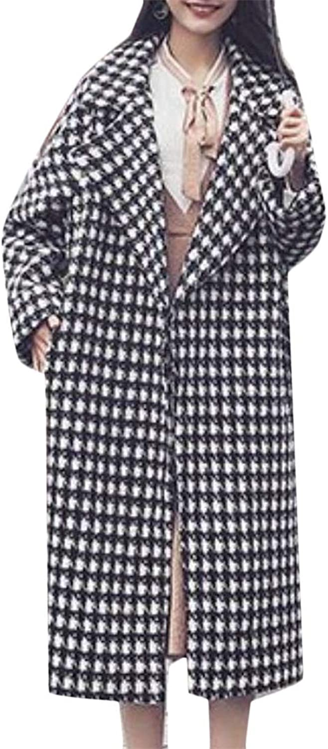 JSYCA Womens Lapel Wool Blended Houndstooth Outerwear Pea Coat