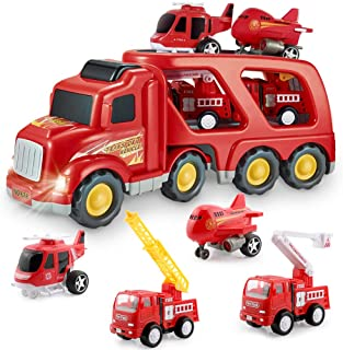 Fire Truck Car Toys Set, Friction Powered Car Carrier Trailer with Sound and Light, Play Vehicle Set for Kids Toddlers Boys Child 3 4 5 6 Years Old, 2 Rescue Ladder Truck, 1 Helicopter, 1 Plane