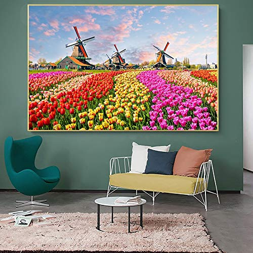 wZUN Arte holandés tulipán Flor Molino de Viento Paisaje Cartel Lienzo Pintura Carteles e Impresiones 60X90 Sin Marco