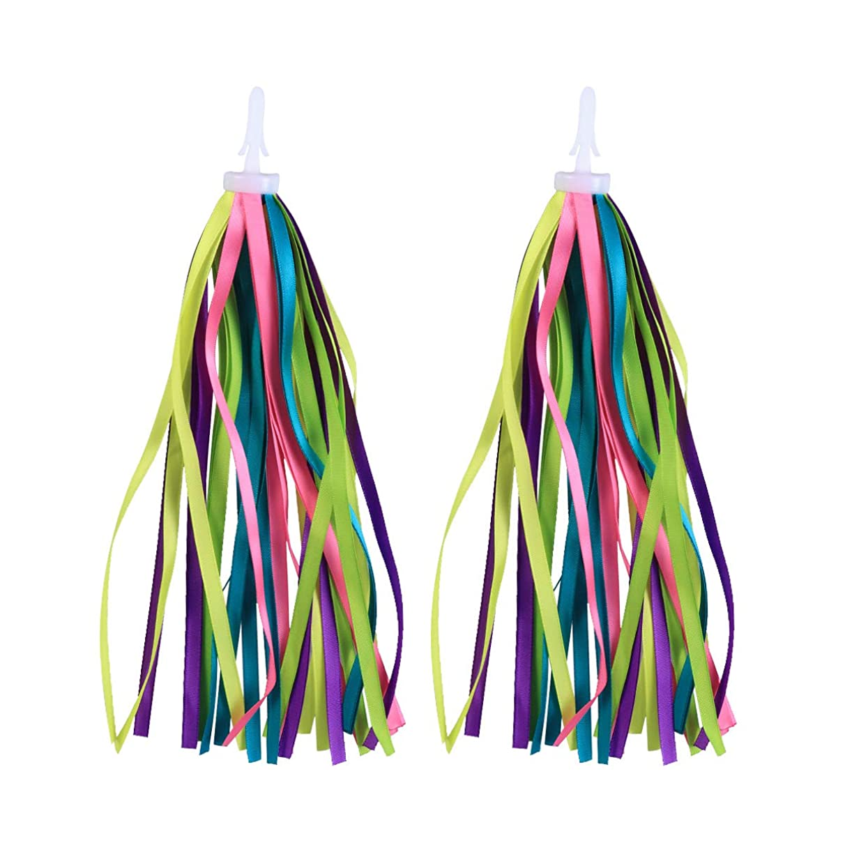 Vosarea 1 Pair Kids Bicycle Tassel Ribbon Scooter Handlebar Streamers Bicycle Grips Ribbon (Colorful)