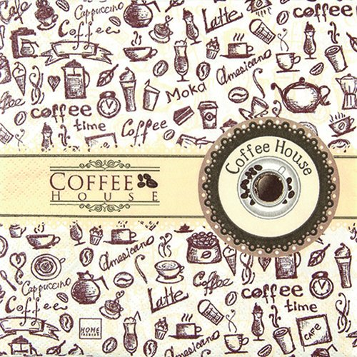 20 Servietten Coffee House / Kaffee / Symbole 33x33cm