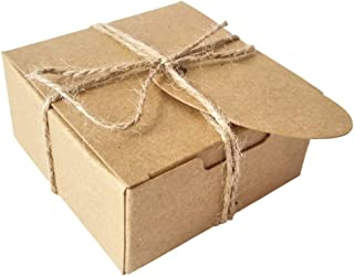 Gold Fortune 50PCS Kraft Paper Wrapping Boxes With Tags and Burlap rustic Twine Srting for gift Crafting Cupcake Soap (Squ...