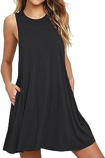 VIISHOW Women's Casual Plain Simple T-Shirt Pockets Loose Dress (M, 1Black)