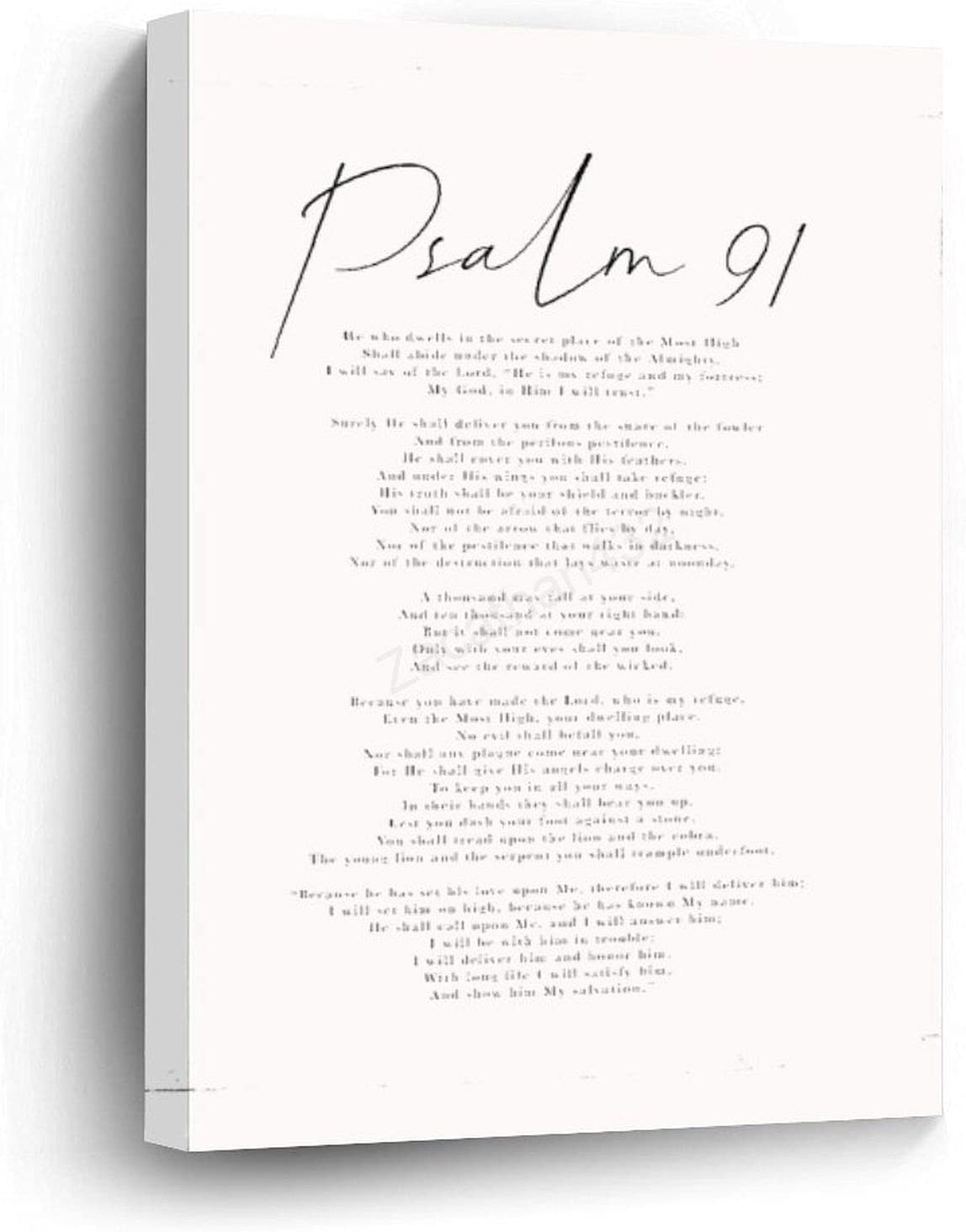 Canvas Wall Art 36 x 24 Inch Psalm 91 Bible Verse Psalm NKJV Christian Gift Bible Quote Modern Scripture Baptism Gift Art Print, Framed Wrapped Quote Print, Housewarming Gift, Wall Art Home Decor