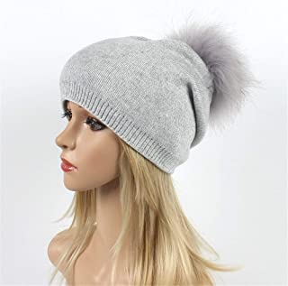 Hat Fashion Wool Warm Hat Vintage Hairball Womens Winter Knitting Daily Slouchy Hats Fashion Accessories (Color : Light Gray)