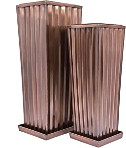 H Potter Patio Deck Flower Ribbed Garden Planter Antique Copper Finish Set of 2 with Trays