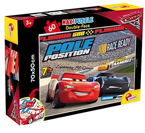 Liscianigiochi- Lisciani - Puzzle doble cara 60 pcs 70x50 cm Disney Cars Pole Position (64007)