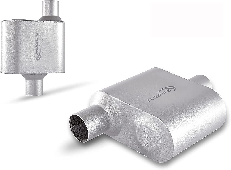 Floshine Universal Mufflers,Single Chamber 2.25 inch inlet/2.25
