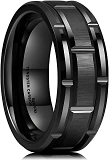Classic Mens 8mm Black/Gold/Rose Gold Tungsten Carbide...