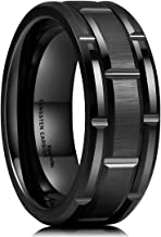 King Will Classic Mens 8mm Black/Gold/Rose Gold Tungsten Carbide Wedding Band Brick Pattern Brushed Finish