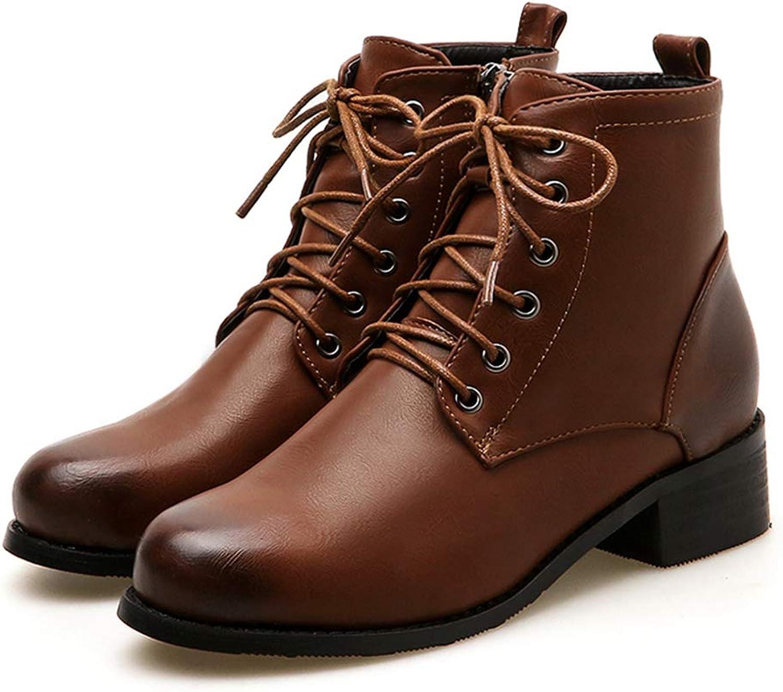 T -JULY Ankle Ankle Ankle Stövlar Kvinnofärgade klackar Plattformade klackar Lacing Round Toe Casual skor Damernes Autumn stövlar  billigare