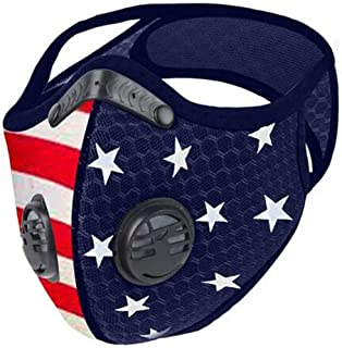 Reusable Face Coverings with Breathing Valve,Fashion American Flag Face Covering