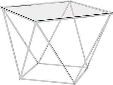 Tidyard Table Basse en Acier, Table de Salon Table d'Appoint, Table en Verre trempé Argenté 80x80x45 cm Acier Inoxydable