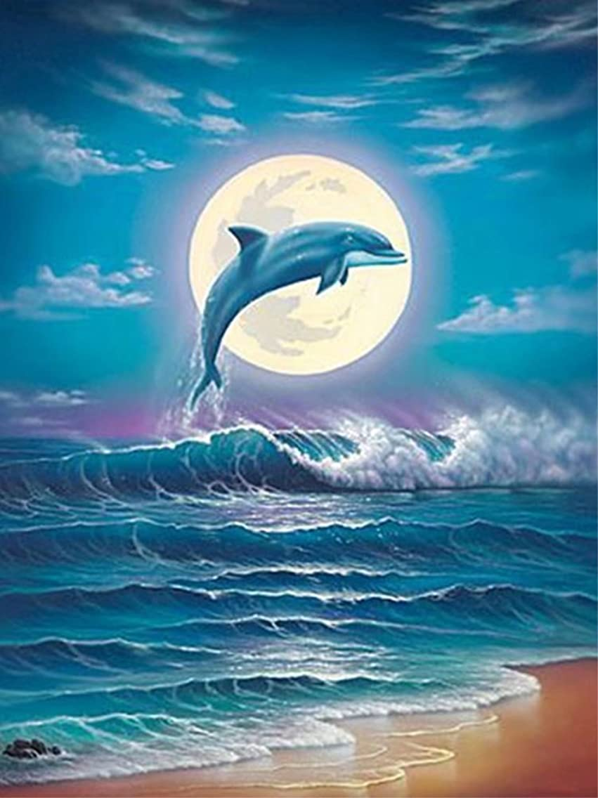 Diamond Painting by Number Kits, Karida 5D DIY Diamond Painting Full Round Drill Dolphin Embroidery for Wall Decoration 12X16 inches