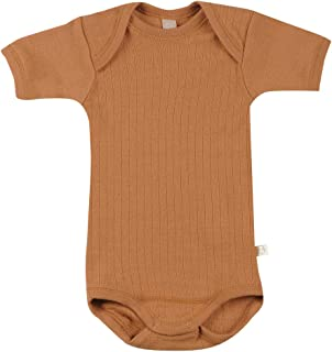 Dilling Rippstrick Baby Body mit kurzen Ärmeln aus 100% Bio-Merinowolle