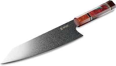 Yatoshi Kiritsuke Knife - Pro Kitchen Knife Set Ultra Sharp Damascus Steel with Octagonal Handle