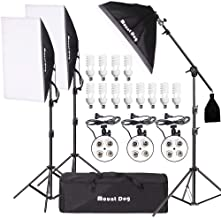 "MOUNTDOG 2400W Softbox Photography Lighting Kit 20""x 28"" Professional Continuous Studio Lighting Equipment with Boom Arm Hairlight and Carry Case for Portrait Product Video Shooting"