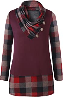 CharMma Women's Plus Size Casual Button Cowl Neck Long Sleeve Plaid Tunic Top