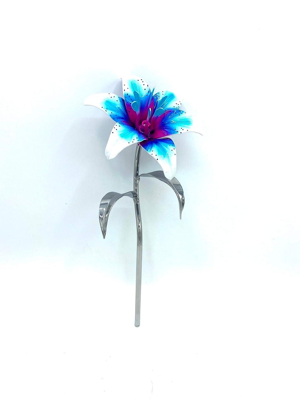 Aluma Flowers Quantity limited Handmade Aluminum Lily Base- Detroit Mall Chrome Stem with No