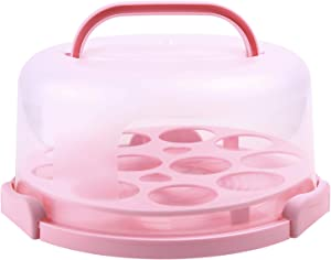 Cake Carrier with Handle, Ohuhu Cake Container, Cupcake Holder, Portable Round Cake Holder, Two Sided Base for Pies, Cookies, Nuts, Fruit etc, Suitable for 10 inch Cake
