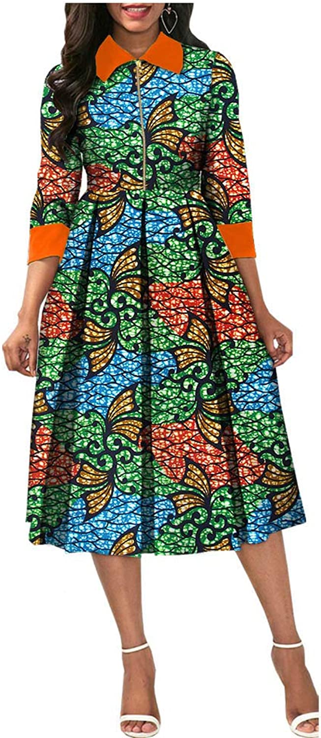 African Ankara Print Women Dresses Three Quarter Sleeve CalfLength Zipper Aline Wax 100% Batik Cotton Made AA7225124