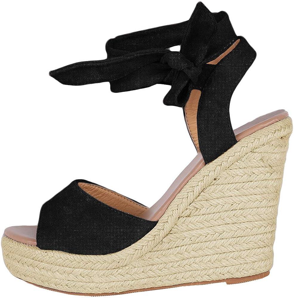 Womens Espadrille Wedge Platform Max 63% OFFer OFF Peep Lace Summer Sandal Toe Up