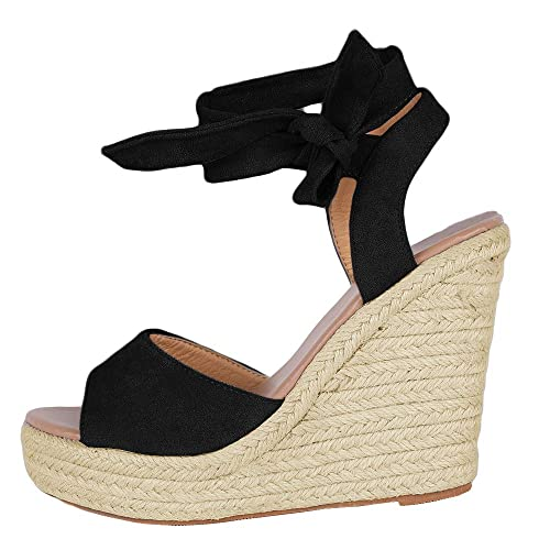 Womens Ladies Platform Sandals Espadrille Ankle Tie Up Comfy Summer Shoes Sizes