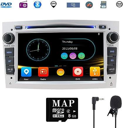 Hotaudio Car Stereo Satellite GPS Navigator para Opel, Unidad Head 7 Pulgadas 2 DIN Car Stereo con Soporte para Reproductor de CD y DVD GPS, USB SD, FM Am RDS, Bluetooth, SWC(Plata)