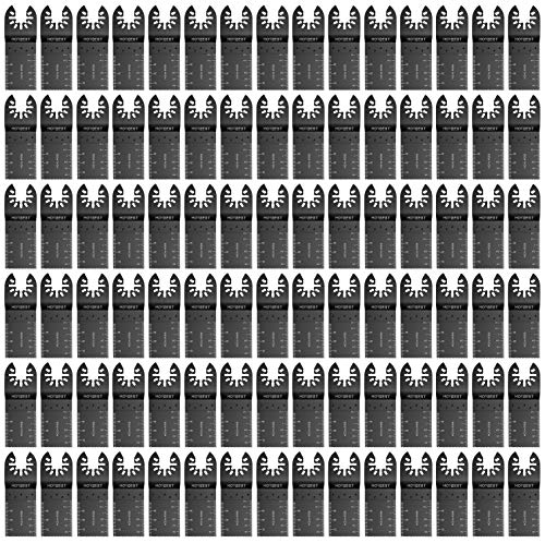 HOTBEST 100 Pcs Wood Oscillating Multi Tool Saw Blades Universal for Multitool All Purpose Tool Fein Dewalt Porter Cable Rockwell Makita Black&Decker Dremel Multimaster Ridgid Craftsman Chicago etc