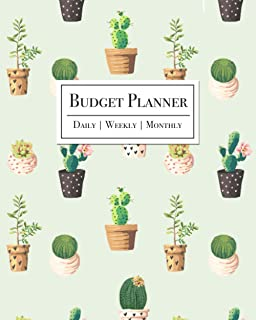 Budget Planner - Daily, Weekly, Monthly: Cactus and Succulent Cover 12 Month Budget Planner Organizational Expense Tracker...