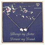 CHICLOVE Zwei Herzen Halskette - Sterling Silber 2 Herzen Liebe Halskette, Schwestern Geschenk