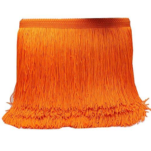 Yalulu 10 metros de longitud 15 cm de ancho borla seda flecos cortados disfraz borla recorte garment Apparel encaje accesorios de costura (naranja)