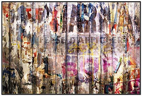 Wallario Wandbild Bemalte Holzplanken mit Alter Schrift in Premiumqualität mit schwarzem Rahmen, Größe: 61 x 91,5 cm