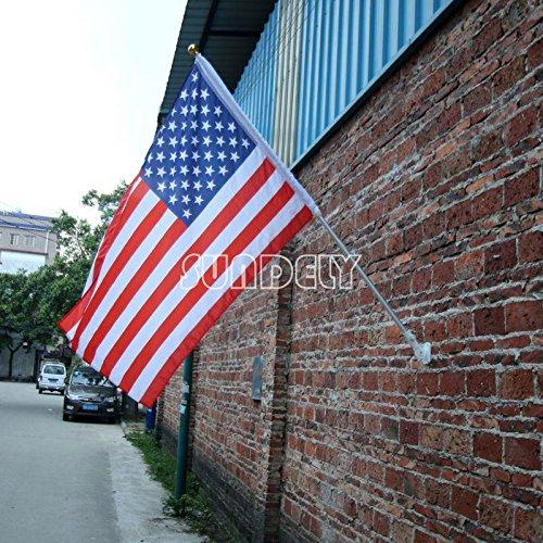SUNDELY® Mât télescopique rétractable en aluminium léger avec support de fixation murale (drapeau non inclus).