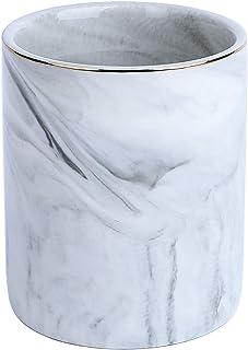 YOSCO - Portalápices de cerámica, vaso para lápices y bolígrafos, diseño con efecto mármol, organizador para escritorio., color gris