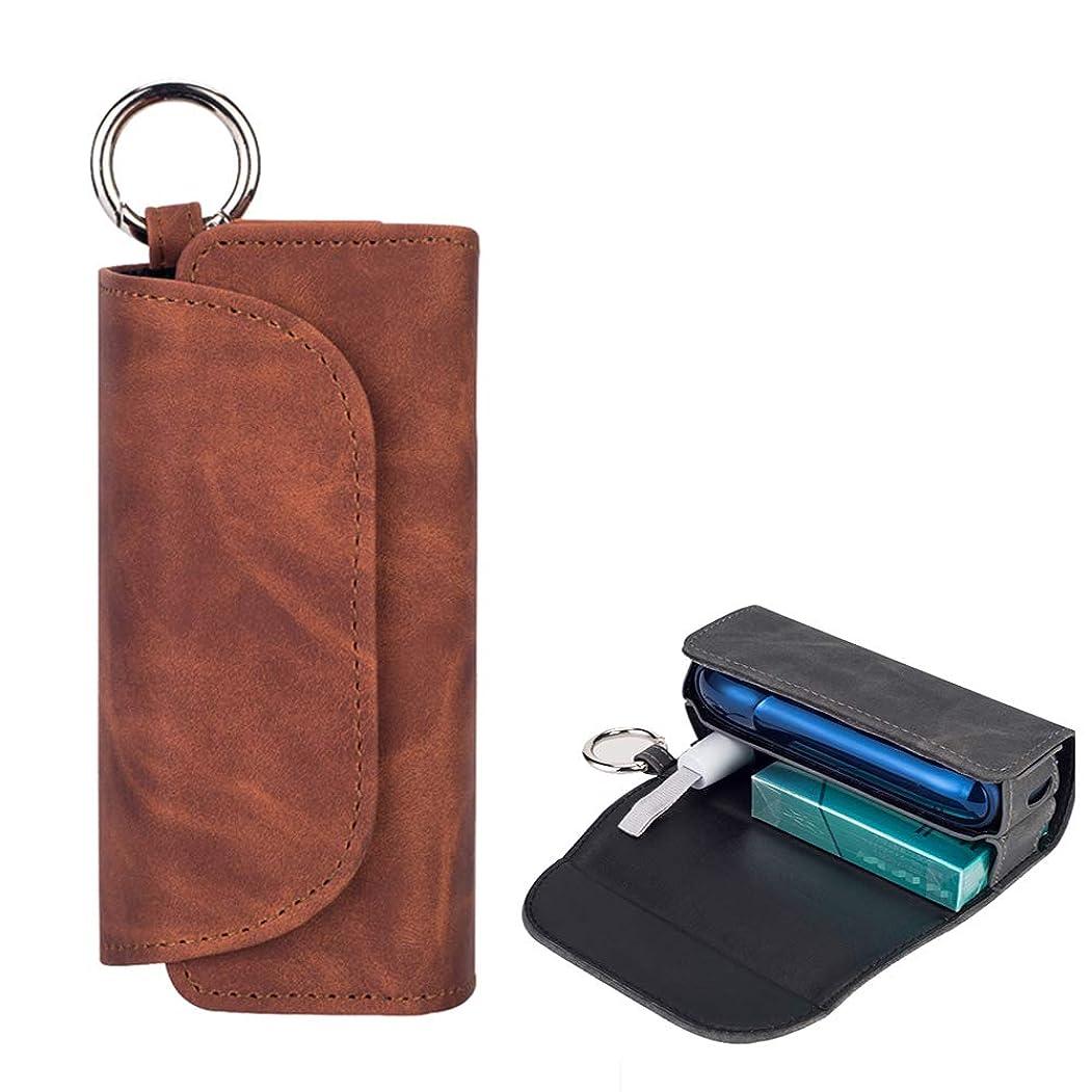 全体お手伝いさん手を差し伸べるIQOS ケース3.0、保護ケースアクセサリー PU レザースクラッチ防水 Iqos3 ケースカバー電子タバコ保護ケース収納袋,Brown