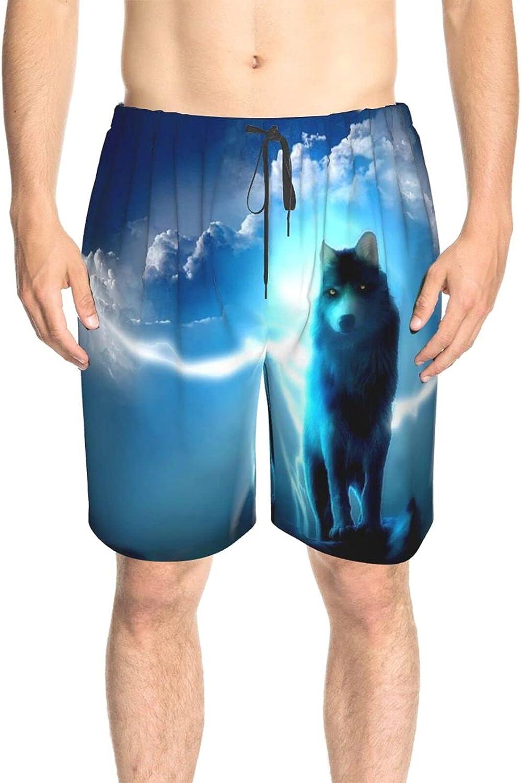 Men's Swim Trunks Lightening Blue Wolf Beach Board Shorts Drawstring 3D Printed Surf Beach Shorts with Lining