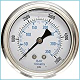 Liquid Filled Pressure Gauge, 2.5' DIAL Display, Stainless Steel CASE, Brass...