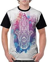Girls Short Sleeve T-Shirts,Evil Eye,Ornate White Hand Drawn Hamsa on Watercolor Splashes Artistic Energetic Print,Pink Blue White S-XXL for Men Super Mom