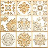Plantillas de Mandala(9 Piezas/30*30cm) para el Dibujo de Mandalas Reutilizables Pintar Arte Decoración Sobre Puerta Pared Piso Muebles