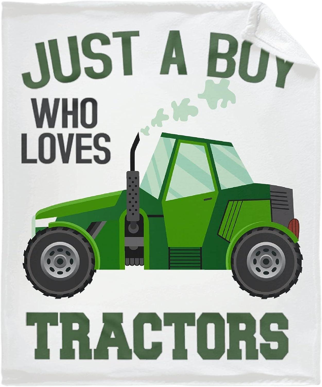 Just A Boy Who Direct stock half discount Loves Tractors Fleece Lightweight Blanket Flannel